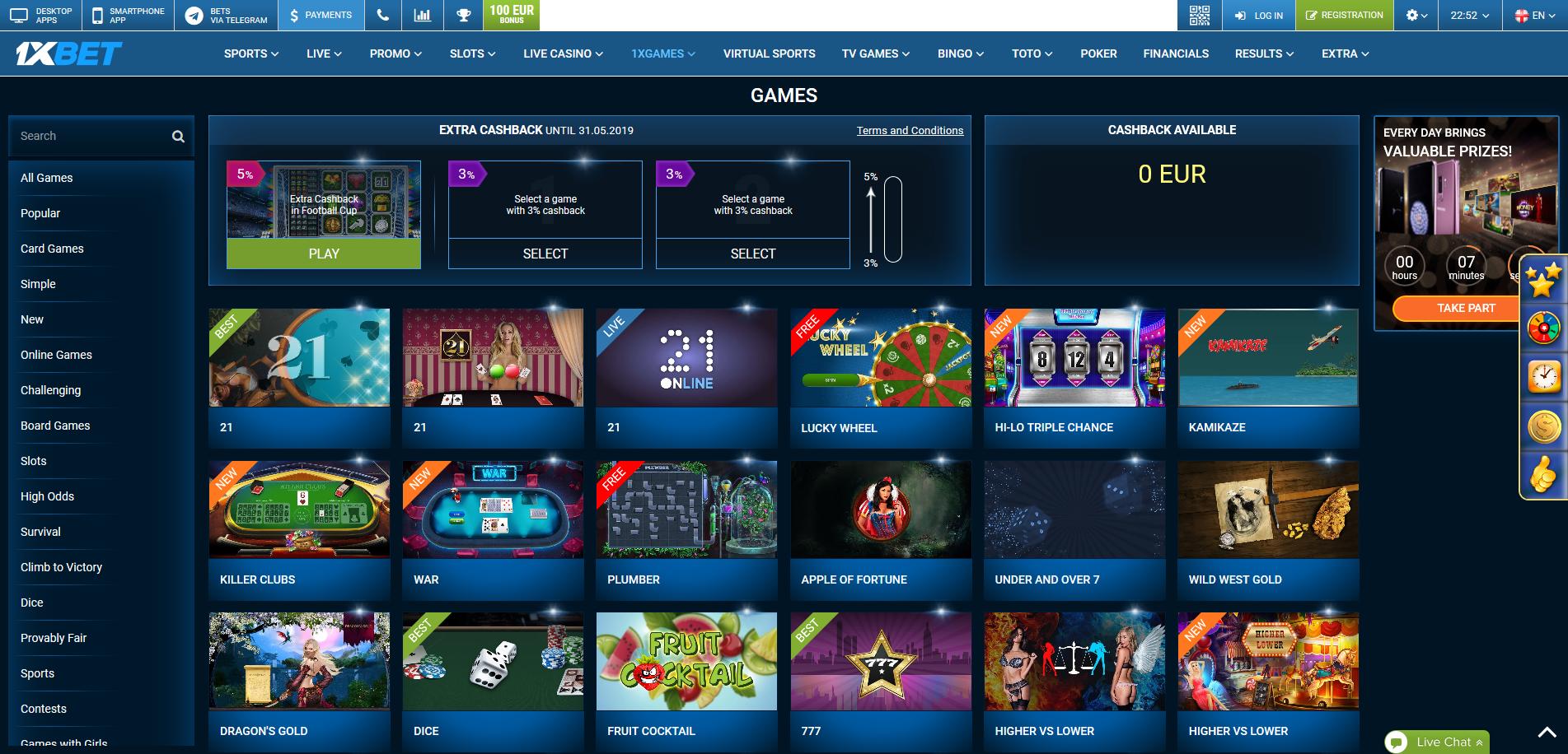 1xgames casino